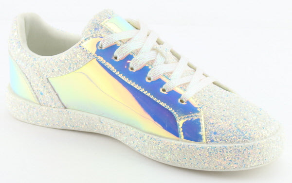 Nature Breeze Raven-01 White Sparkly Sneaker