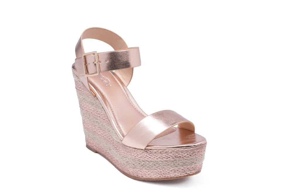 ea4cd23f894 Refresh Stecy-01 Rose Gold Striped Wedges – Manic Shoes