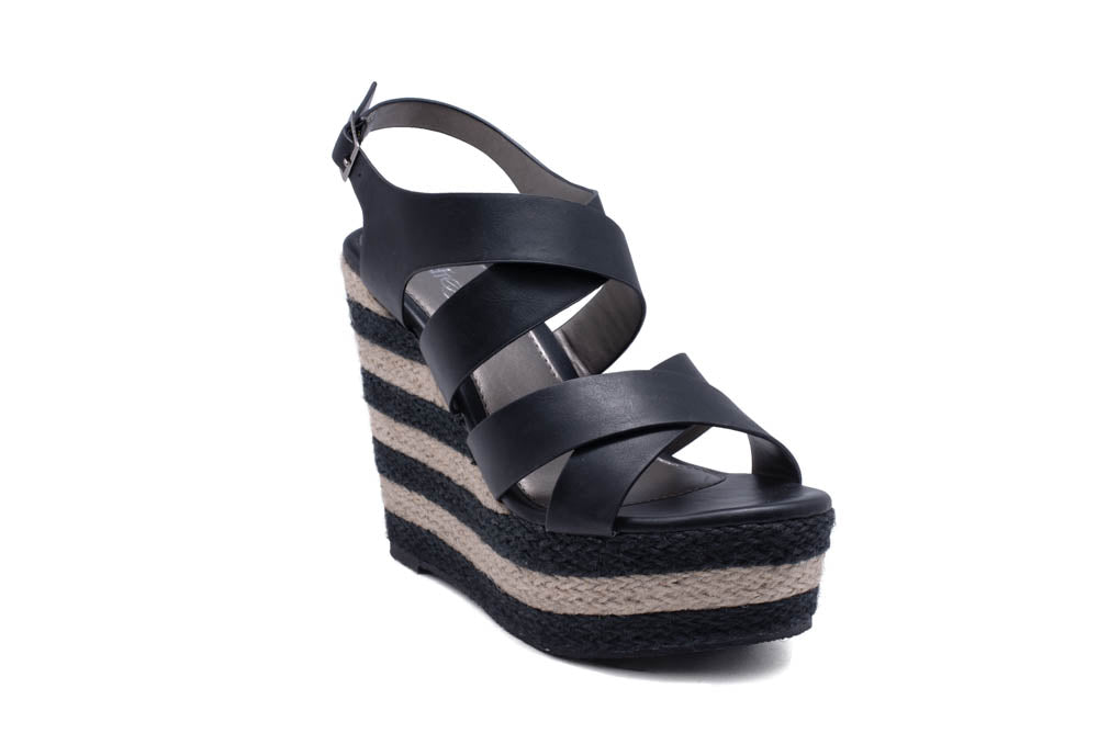 065c2539666 Refresh Stecy-02 Black Two Strap Striped Wedges – Manic Shoes