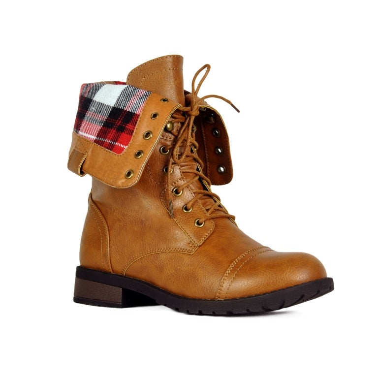 Refresh Terra-01 Plaid Lace Up Camel Boots