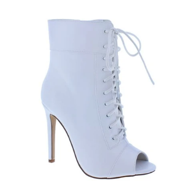 Liliana Trollz-1 White Peep Toe Lace-Up Ankle Heel
