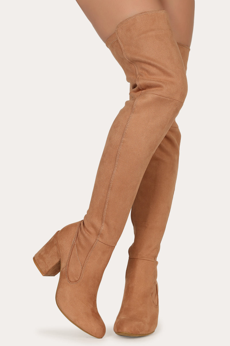 Bamboo Vitality-12 Camel Over the Knee Chunky Heel Boot