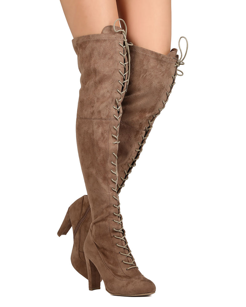 5c316fbab27 Wild Diva Amaya-07 Taupe Suede Lace Up Over The Knee Boots
