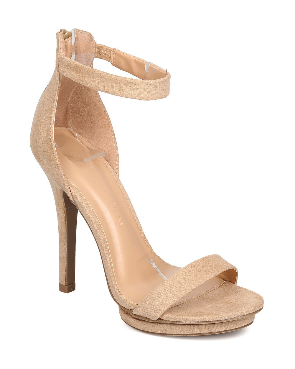 Wild Diva Amy-01 Natural Open Toe Ankle Strap Platform Heel