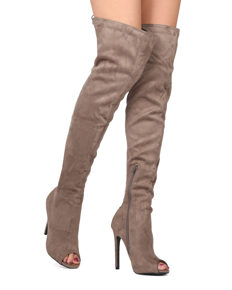 Wild Diva Carmela-16 OTK Taupe Open Toe Front Lace Up Back Heel