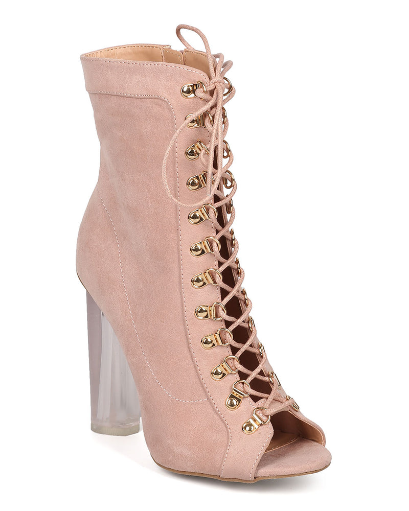 Wild Diva Mono-04 Blush Peep Toe Corset Lace Up