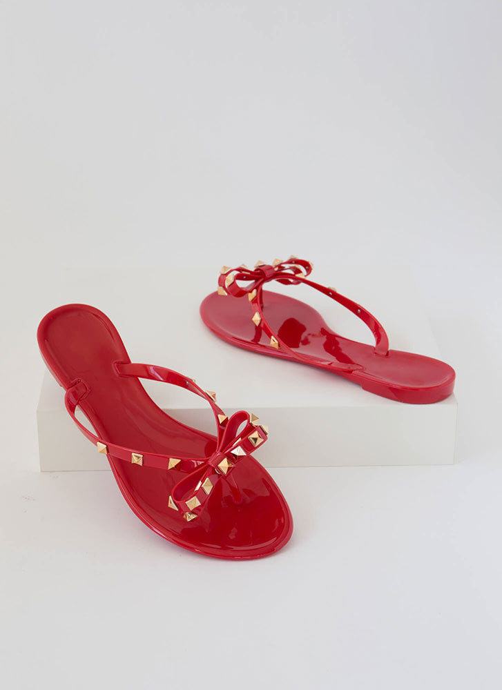 Wild Diva Joanie-172 Red Jelly Studded Bow Flip Flop
