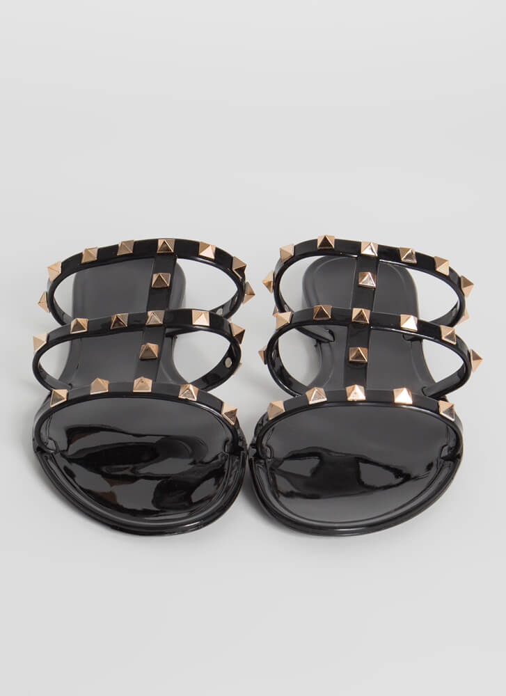 Wild Diva Joanie-228 Black 3 Strap Caged Sandal With Pointed Studs