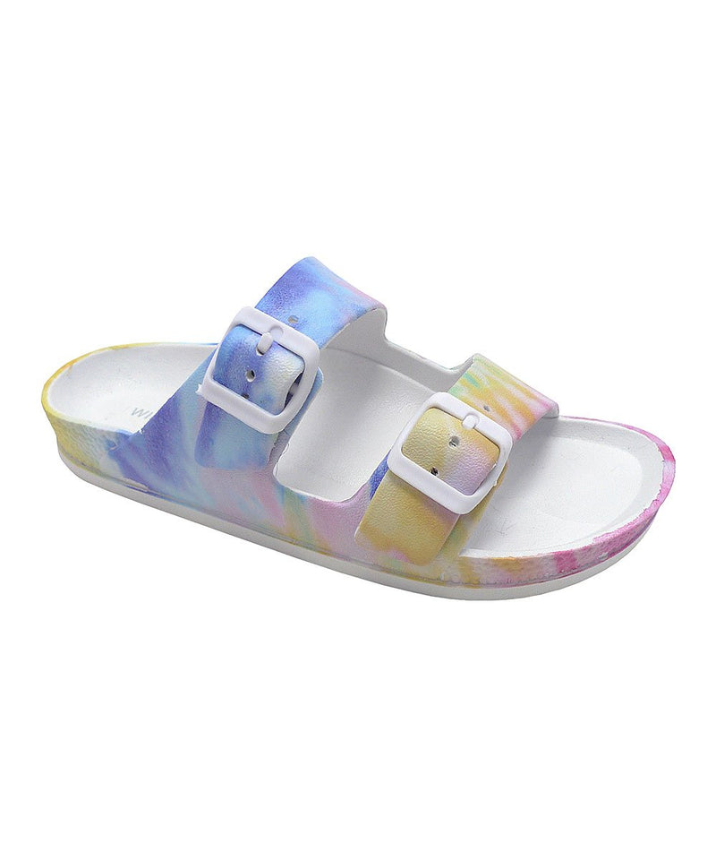 Wild Diva Kristen-01A Cotton Candy PVC Double Buckle Sandal