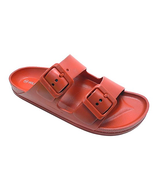 Wild Diva Kristen-01A Red PVC Double Buckle Sandal