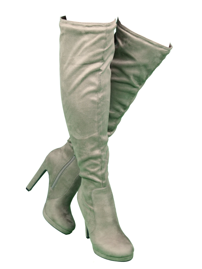 Wild Diva Yala-02 Taupe Over The Kee Platform Heeled Boots