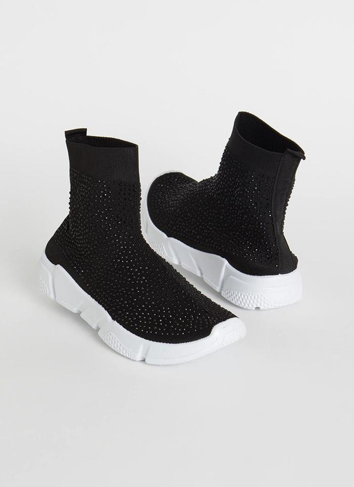 Wild Diva Zumi-05 Black Knit Ankle Sneaker with Rhinestones