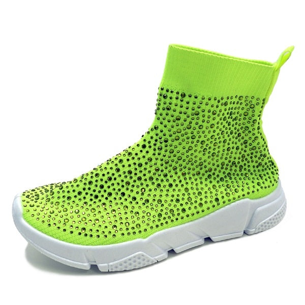 Wild Diva Zumi-05 Neon Green Knit Ankle Sneaker with Rhinestones