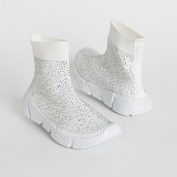 Wild Diva Zumi-05 White Knit Ankle Sneaker with Rhinestones