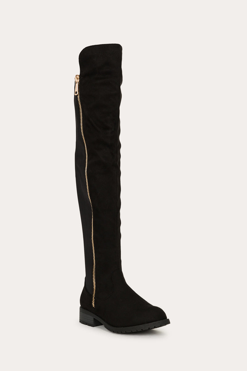 Refresh Zoey-02 Black Gold Zipper Design Over The Knee Boots