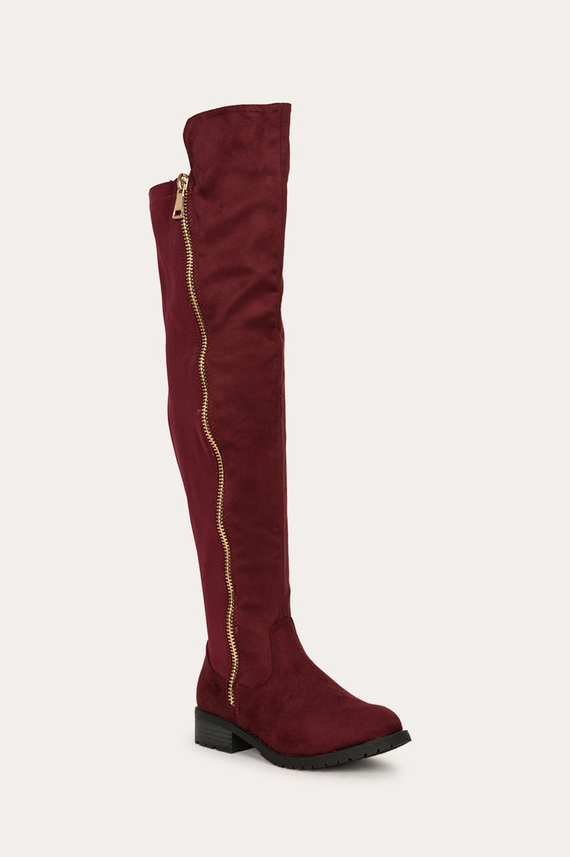 Refresh Zoey-02 Wine Gold Zipper Design Over The Knee Boots