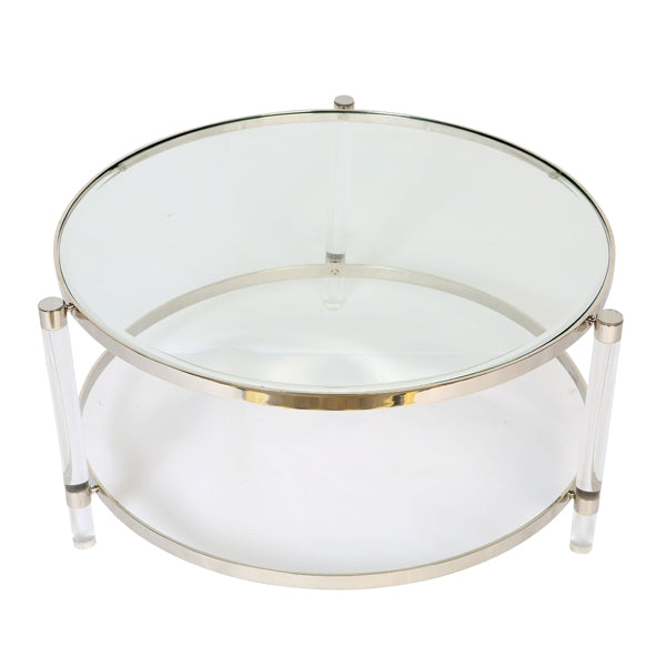 Large Art Deco Glass Top Coffee Table