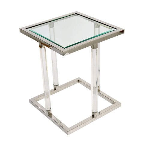 Stainless Steel Square Side Table With Acrylic Legs