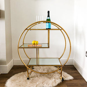 Antique Gold/Bronze Leaf Metal Drinks/Bar Trolley with Mirror Shelves