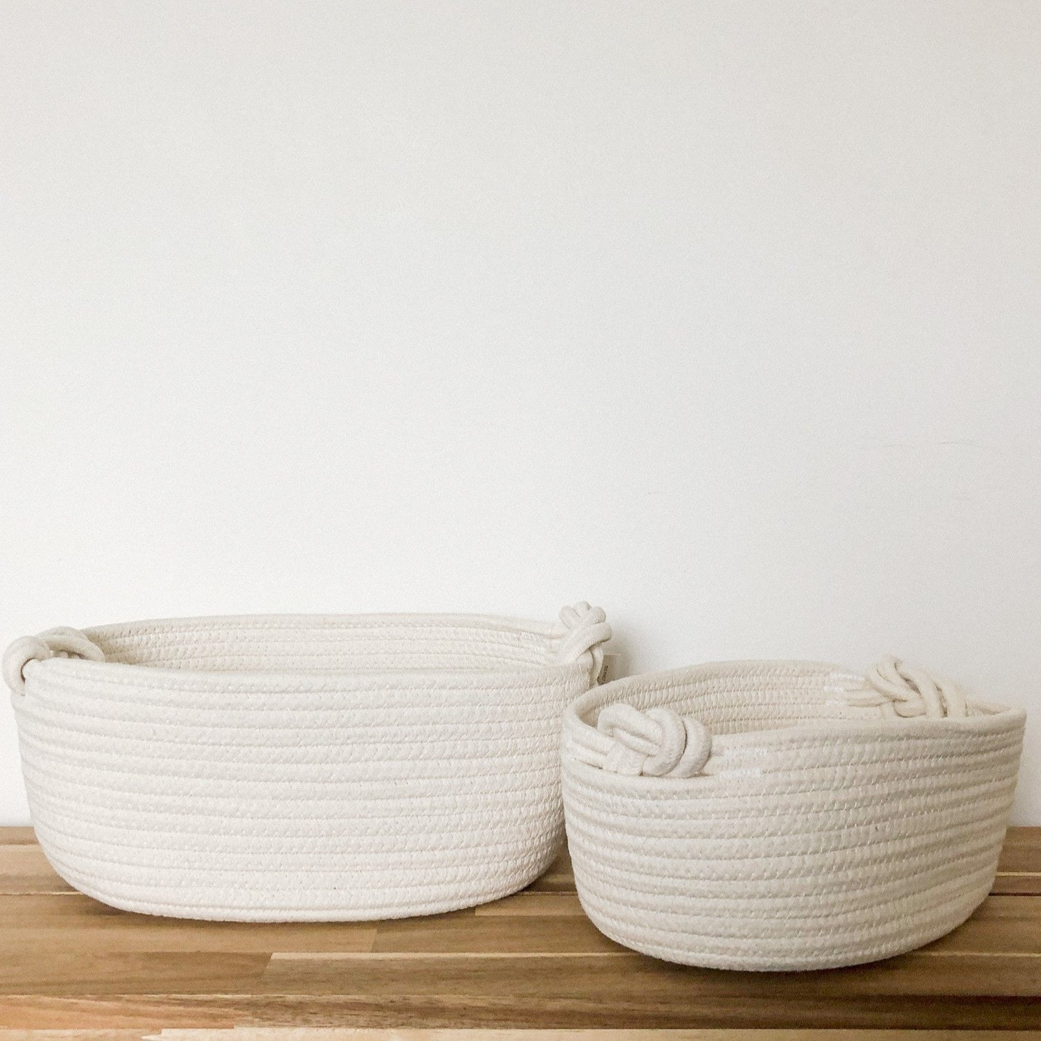 White Knot Handle Rope Baskets (Set of 2)