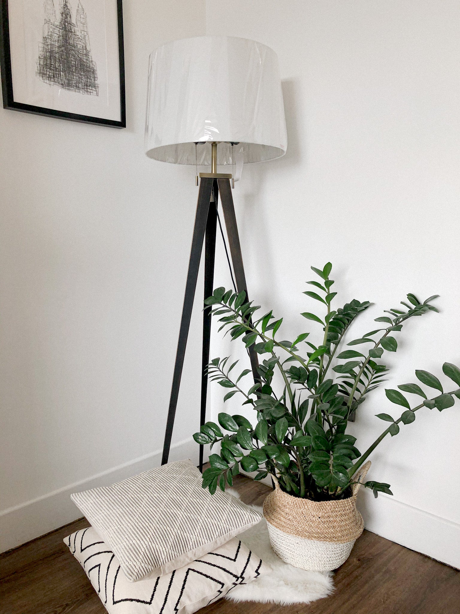 Brass Tripod Floor Lamp