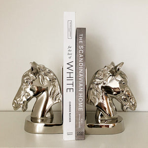 Silver Horse Head Bookends