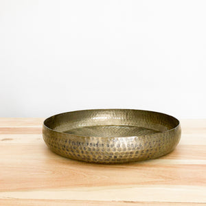 Large Antique Brass Round Tray