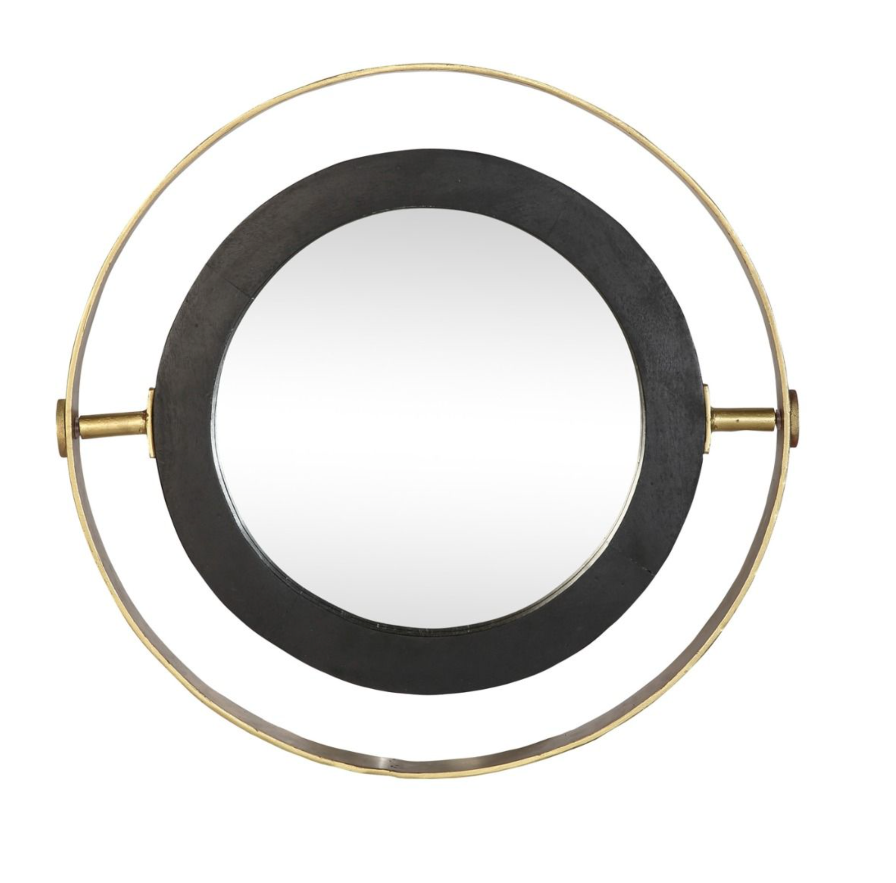Round Orion Mirror with Black Wood Frame