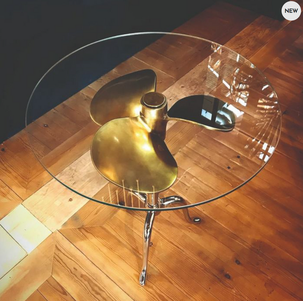 Propeller Antique Brass & Nickel Side Table