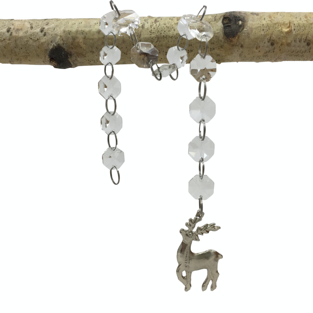 Hanging Glass Gem Chain with Stag Silhouette Set of 2