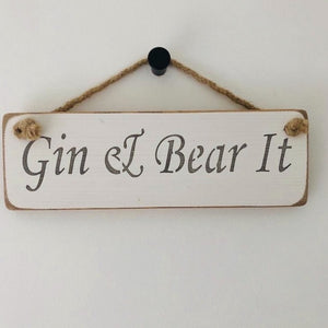 Wooden Rope Sign - Gin & Bear it