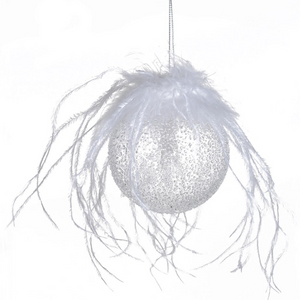 Feather Top Frosted Bauble (Set of 2)