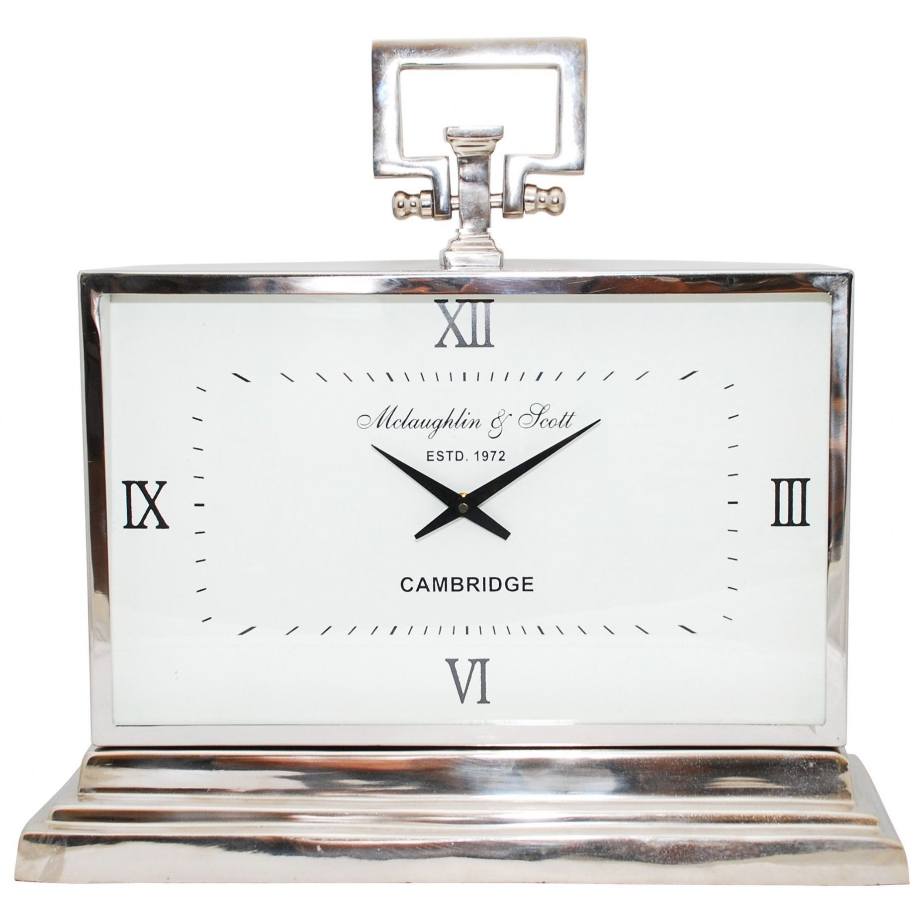 Latham Medium Aluminium Rectangular Clock With Roman Numerals