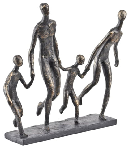 Antique bronze family of four sculpture
