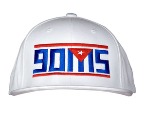 White Pro baseball on-field shape cap with embroidered 90MS graphic. Front view