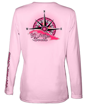 Ladies Cuba V-Neck | back view of a light pink long sleeve performance v-neck t-shirt depicting a pink compass rose artwork and outline of the island of Cuba