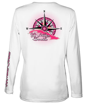 Ladies Cuba V-Neck | back view of a white long sleeve performance v-neck t-shirt depicting a pink compass rose artwork and outline of the island of Cuba