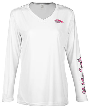 "front view of a ladies white v-neck performance shirt with 90 Miles South Island left chest logo and right sleeve copy saying ""90 Miles South"""