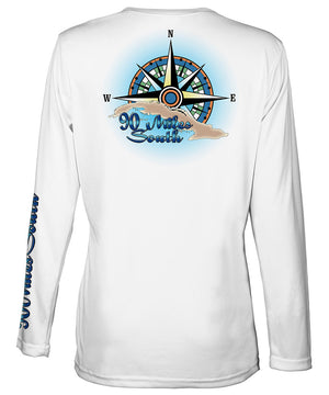 Ladies Cuban t-shirt | back view of a white long sleeve performance v-neck t-shirt depicting a blue green compass rose artwork and outline of the island of Cuba