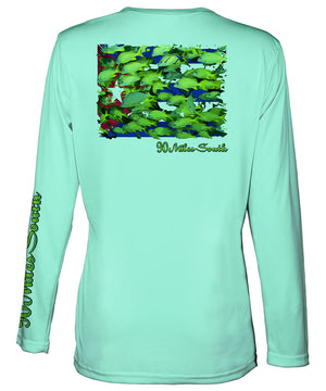 Ladies Cuban t-shirts | Bluestriped Grunts - back view of a sea foam green long sleeve ladies performance v-neck depicting a school of Bluestriped Grunt fish over Cuban flag