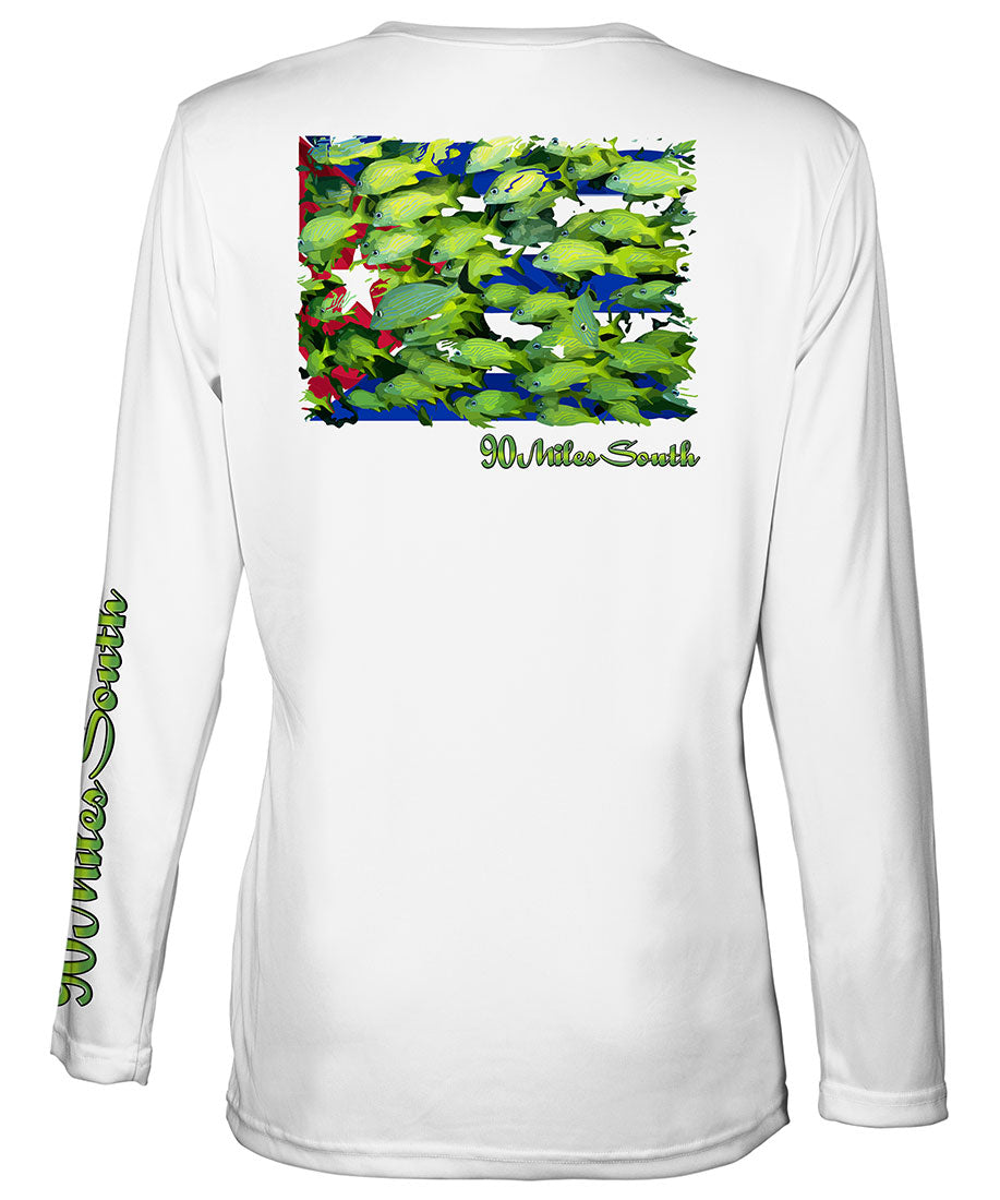 Ladies Cuban t-shirts | Bluestriped Grunts - back view of a white long sleeve ladies performance v-neck depicting a school of Bluestriped Grunt fish over Cuban flag