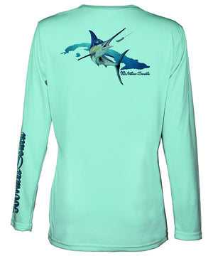 Ladies Cuban tees | Blue Marlin - back view of a sea foam green ladies long sleeve performance v-neck shirt depicting a blue marlin and the island of Cuba