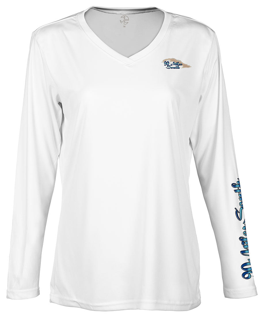 Ladies Cuban tees | Blue Marlin - back view of a white ladies long sleeve performance v-neck shirt depicting a blue marlin and the island of Cuba