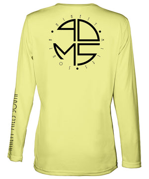 Ladies V-Neck | 90MS Round Logo Shirt | back view of a canary yellow ladies long sleeve performance v-neck shirt featuring 90 Miles South big round logo