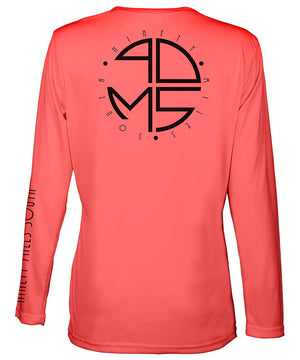 Ladies V-Neck | 90MS Round Logo Shirt | back view of a coral ladies long sleeve performance v-neck shirt featuring 90 Miles South big round logo