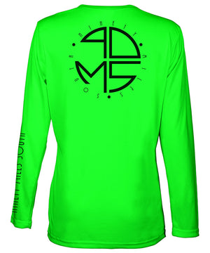 Ladies V-Neck | 90MS Round Logo Shirt | back view of a neon green ladies long sleeve performance v-neck shirt featuring 90 Miles South big round logo