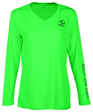 "front view of a ladies neon green v-neck performance shirt with 90 Miles South Round left chest logo and right sleeve copy saying ""90 Miles South"""
