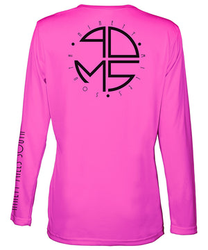 Ladies V-Neck | 90MS Round Logo Shirt | back view of a neon pink ladies long sleeve performance v-neck shirt featuring 90 Miles South big round logo