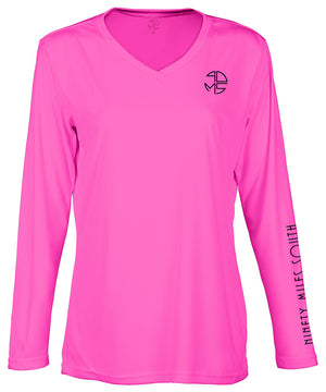 "front view of a ladies neon pink v-neck performance shirt with 90 Miles South Round left chest logo and right sleeve copy saying ""90 Miles South"""