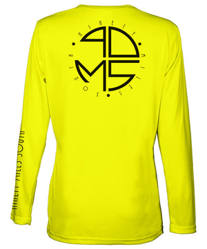 Ladies V-Neck | 90MS Round Logo Shirt | back view of a neon yellow ladies long sleeve performance v-neck shirt featuring 90 Miles South big round logo
